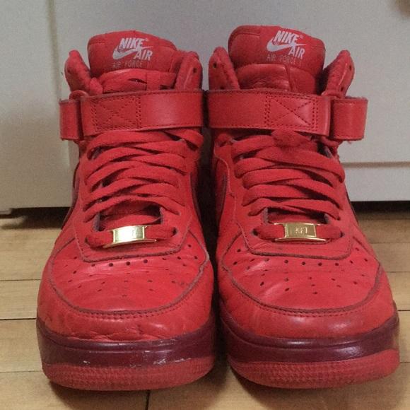 promo code f9482 a1b62 Red Nike Air Force 1 high tops
